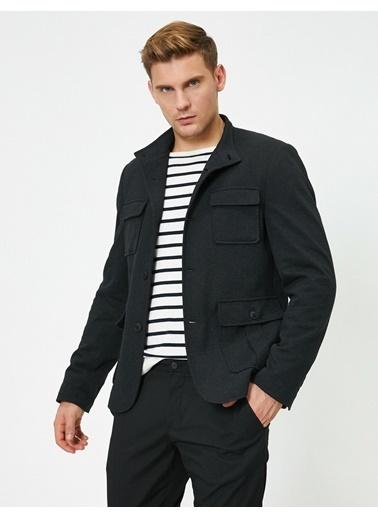Koton Cep Detayli Dügmeli Blazer Ceket Siyah